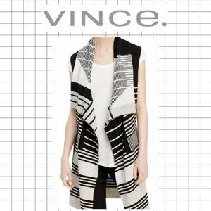 VINCE Graphic Stripe Sweater Vest Wrap Cashmere